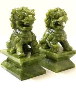 Vintage Hand Carved JADE Chinese Imperial Foo Dogs