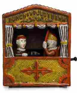 Vintage PUNCH and JUDY Cast Iron Mechanical Bank