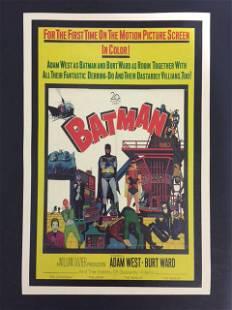 Rare 1960s Batman & Robin Big Screen Debut Movie Poster