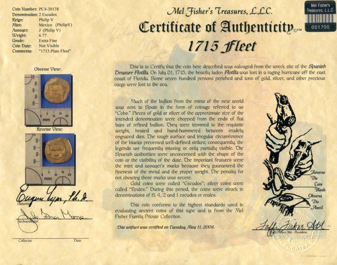 1715 Fleet Spanish Doubloon - 4
