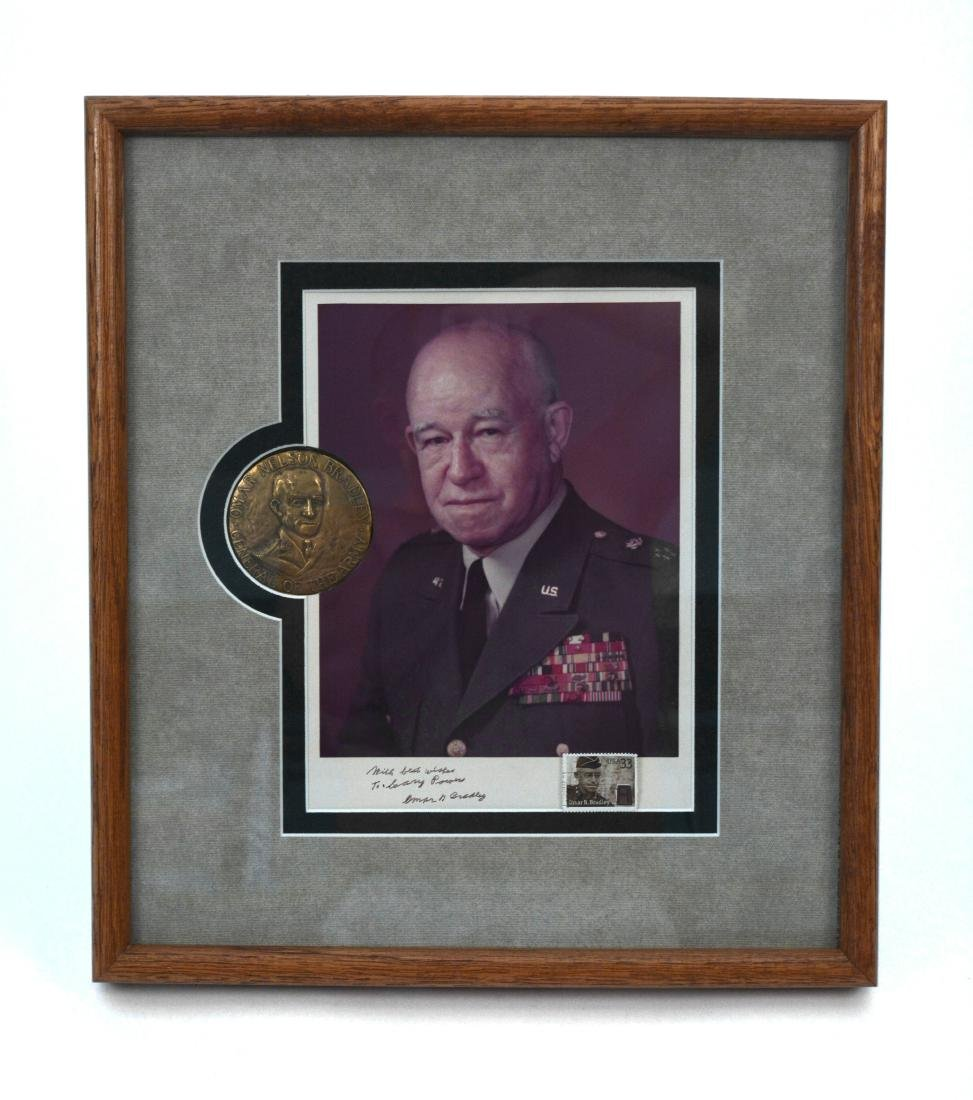 Omar Bradley Medallion with Photo Signed to G. Powers