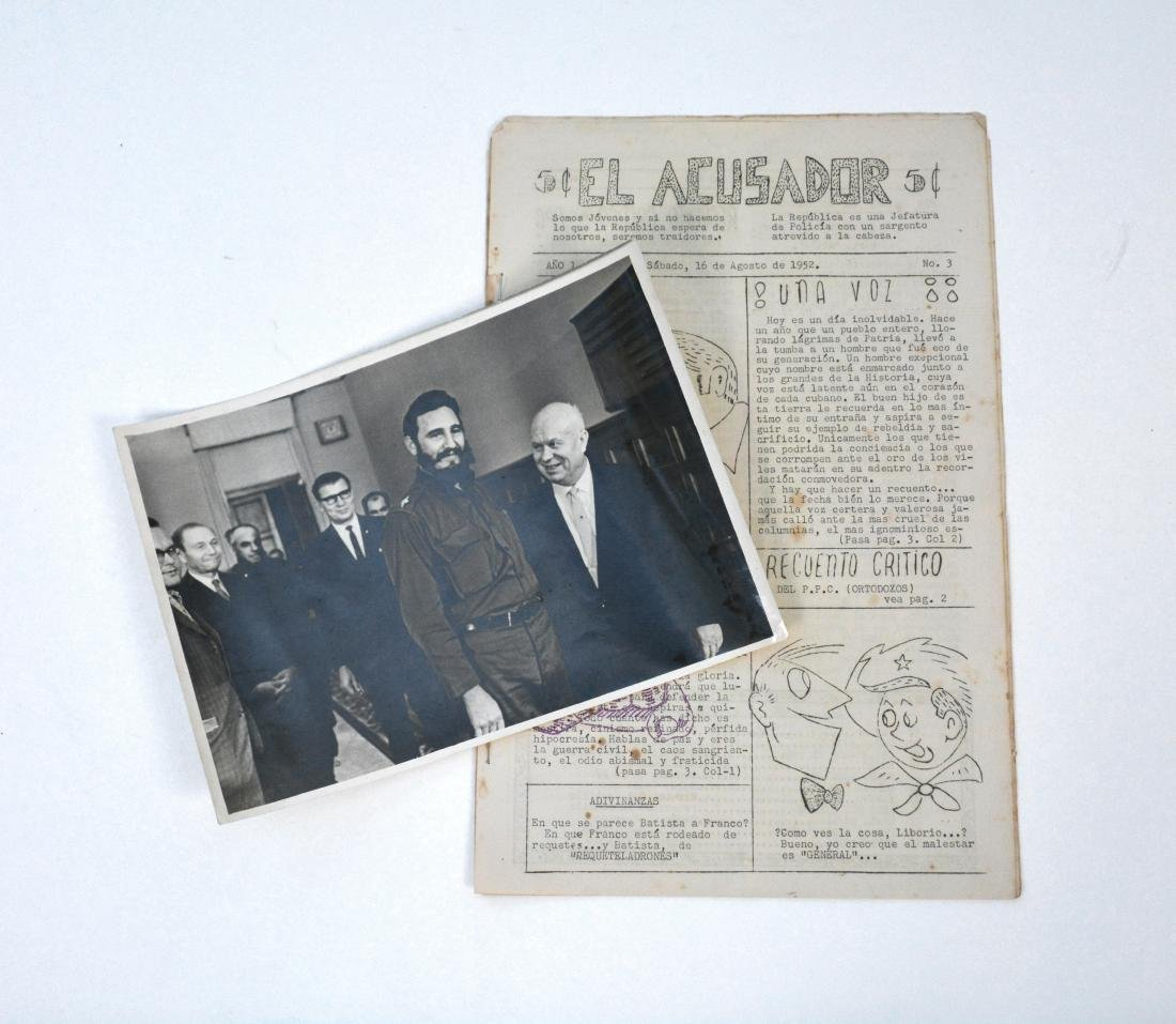 Rare Cuban Rebel Support Journal c.1952 + Castro Photo