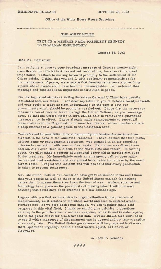 Text of Kennedy/Khrushchev Message and Cuba/Weapons - 3