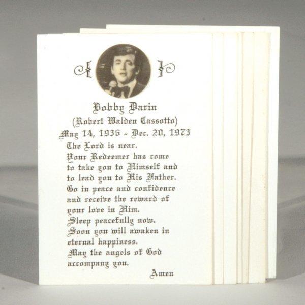 Bobby Darin Funeral Prayer Cards
