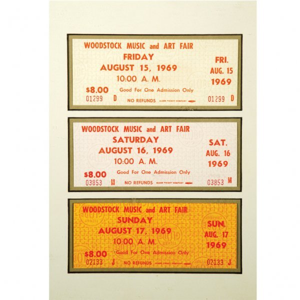 439: Framed Original Woodstock Tickets
