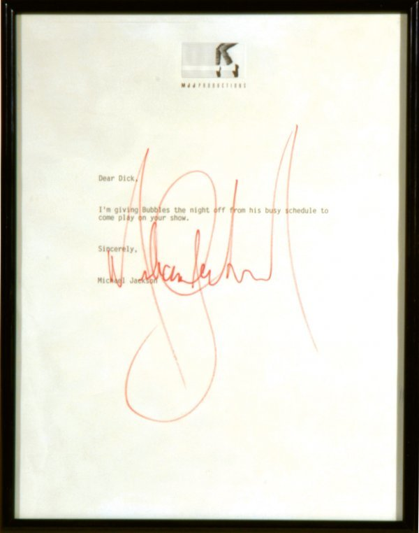 533: Michael Jackson Signed letter to Dick Clark