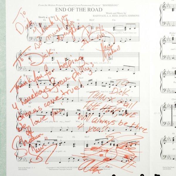 "915: Boyz II Men Signed ""End of the Road"" Sheet Music - 2"