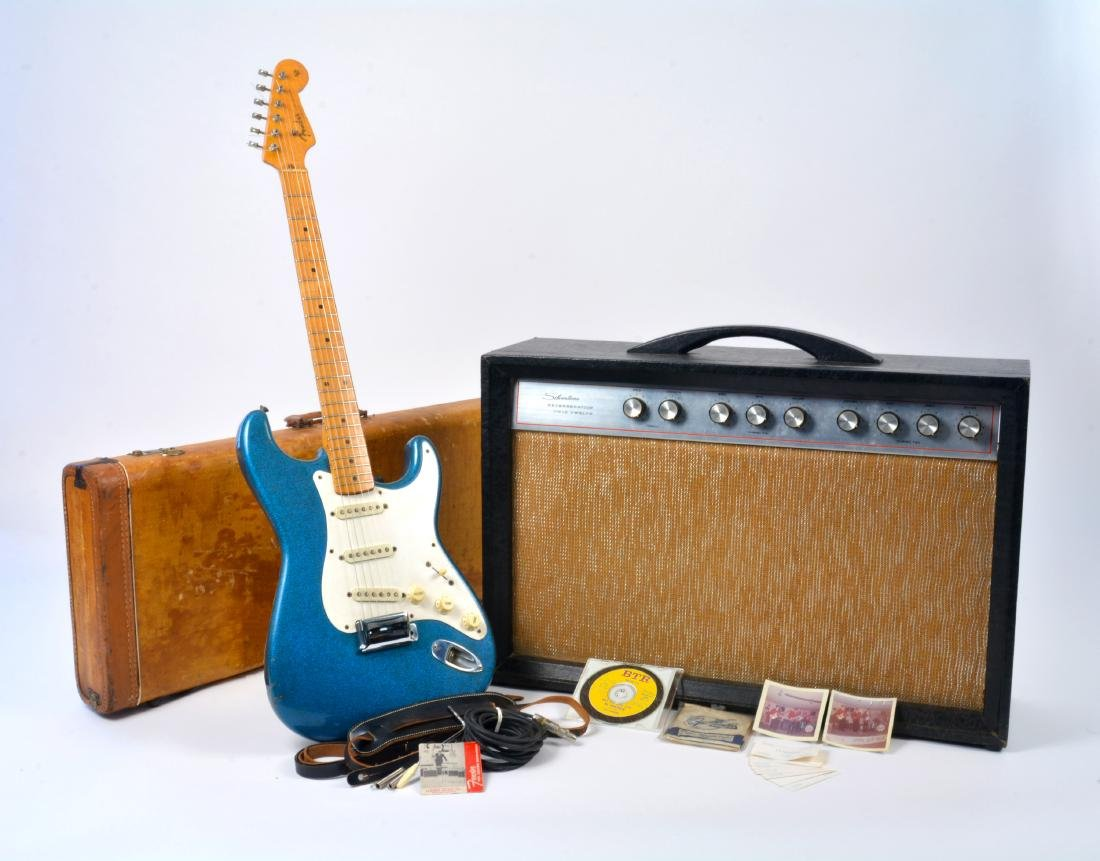 1959 Stratocaster, rare blue sparkle, with amp & more