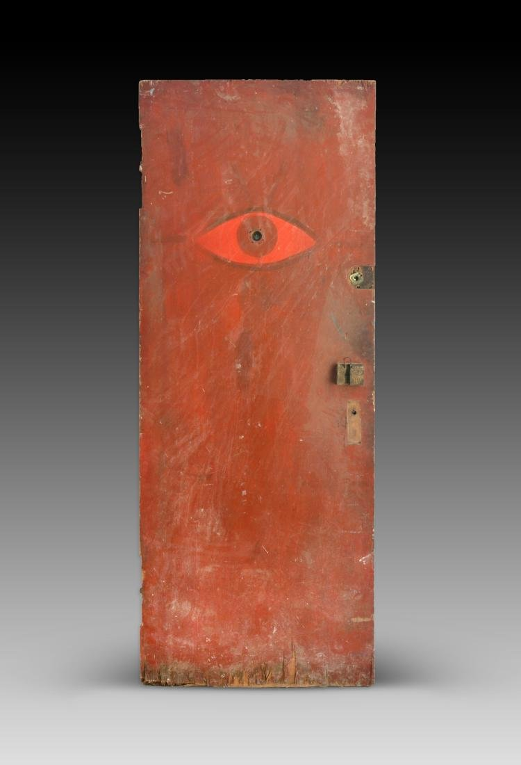 Chelsea Hotel Door with Red Eye Painting