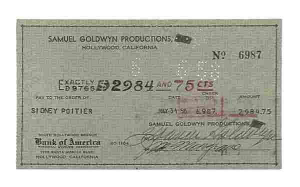 Sidney Poitier Paycheck for Porgy & Bess