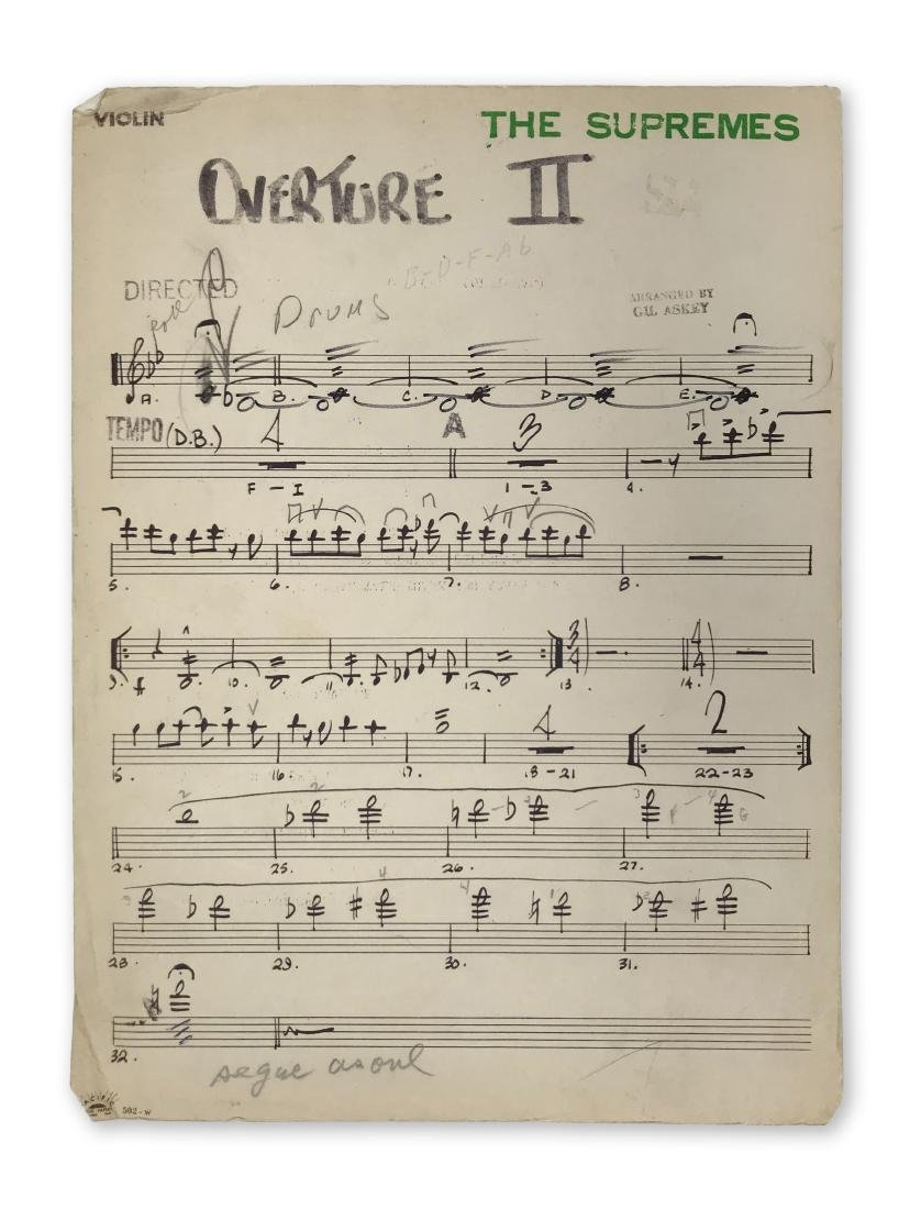 """Original score sheet for the Supremes' """"Overture II"""""""