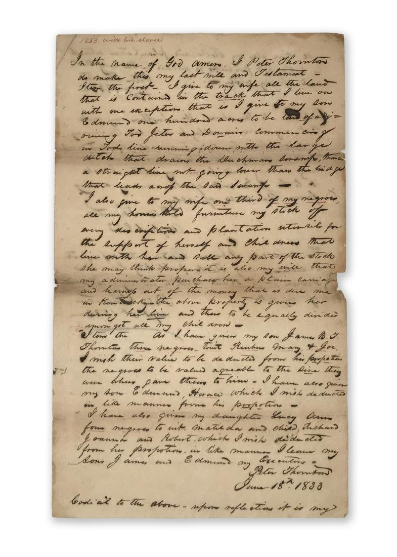Peter Thornton's Last Will c.1833 with Slaves Reference
