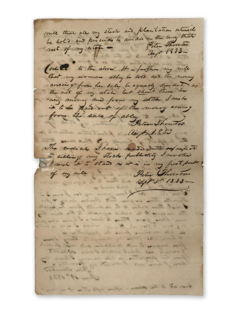 Peter Thornton's Last Will c.1833 with Slaves Reference - 2