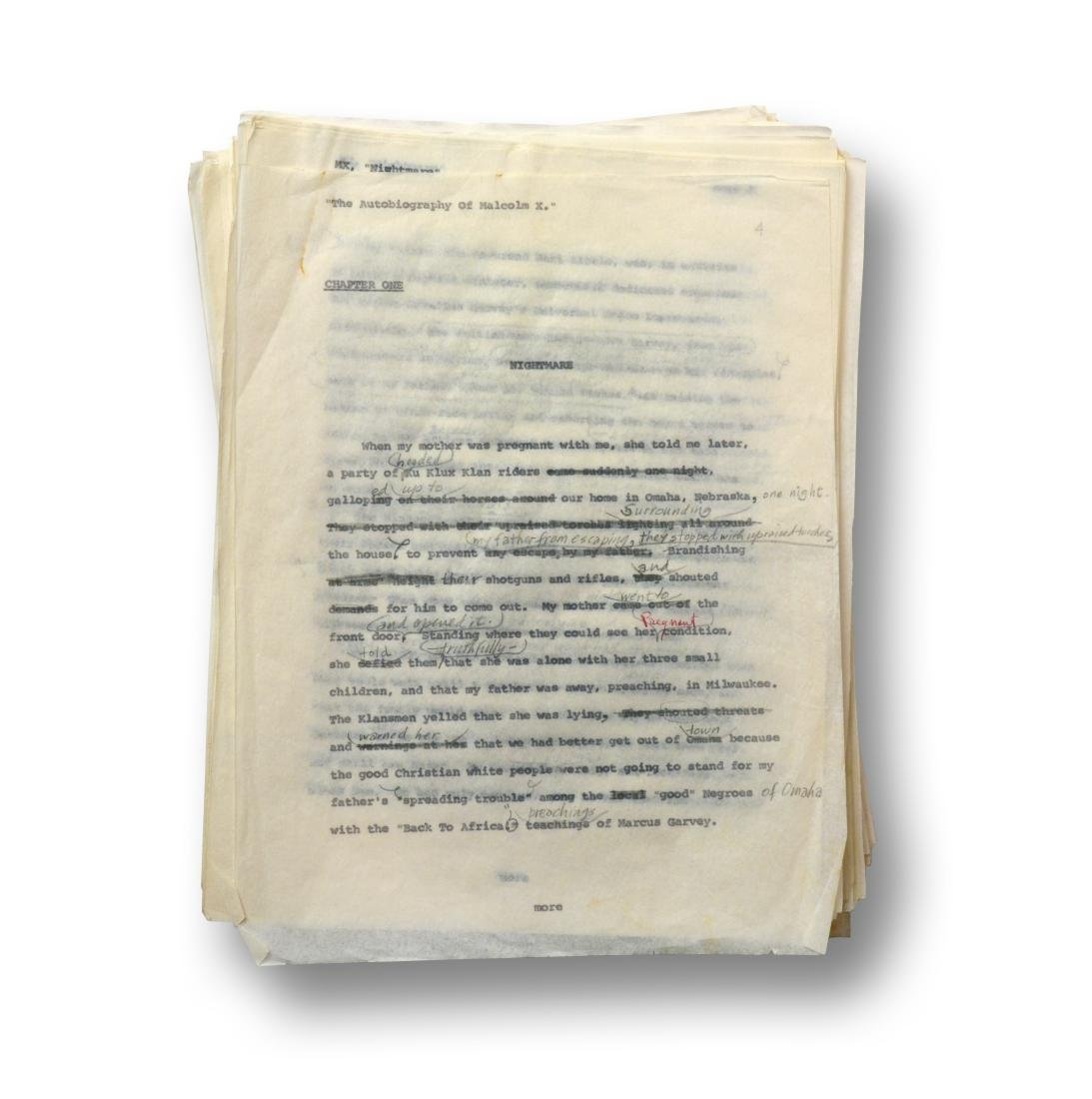 Malcolm X Manuscript, notes by Malcolm X and Alex Haley