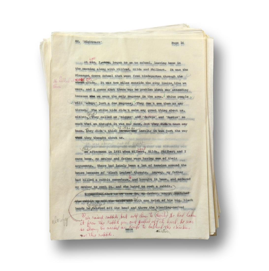 Malcolm X Manuscript, notes by Malcolm X and Alex Haley - 2
