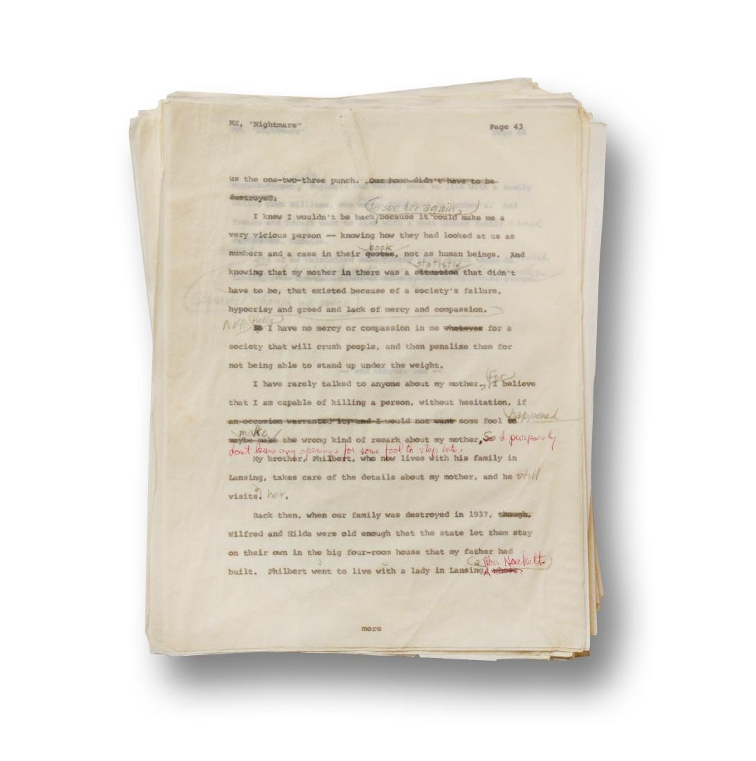 Malcolm X Manuscript, notes by Malcolm X and Alex Haley - 6