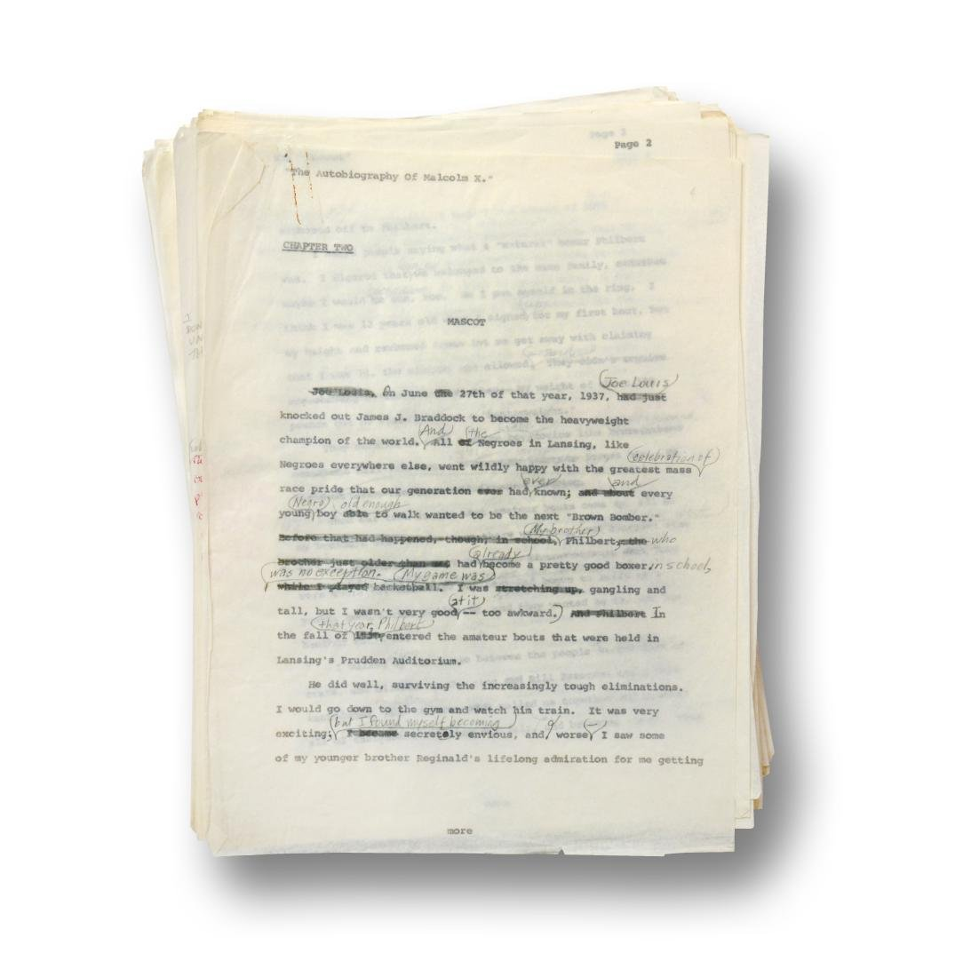 Malcolm X Manuscript, notes by Malcolm X and Alex Haley - 8