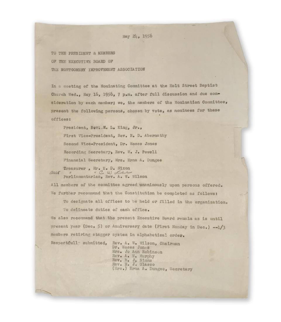 1956 Letter to the Montgomery Improvement Association