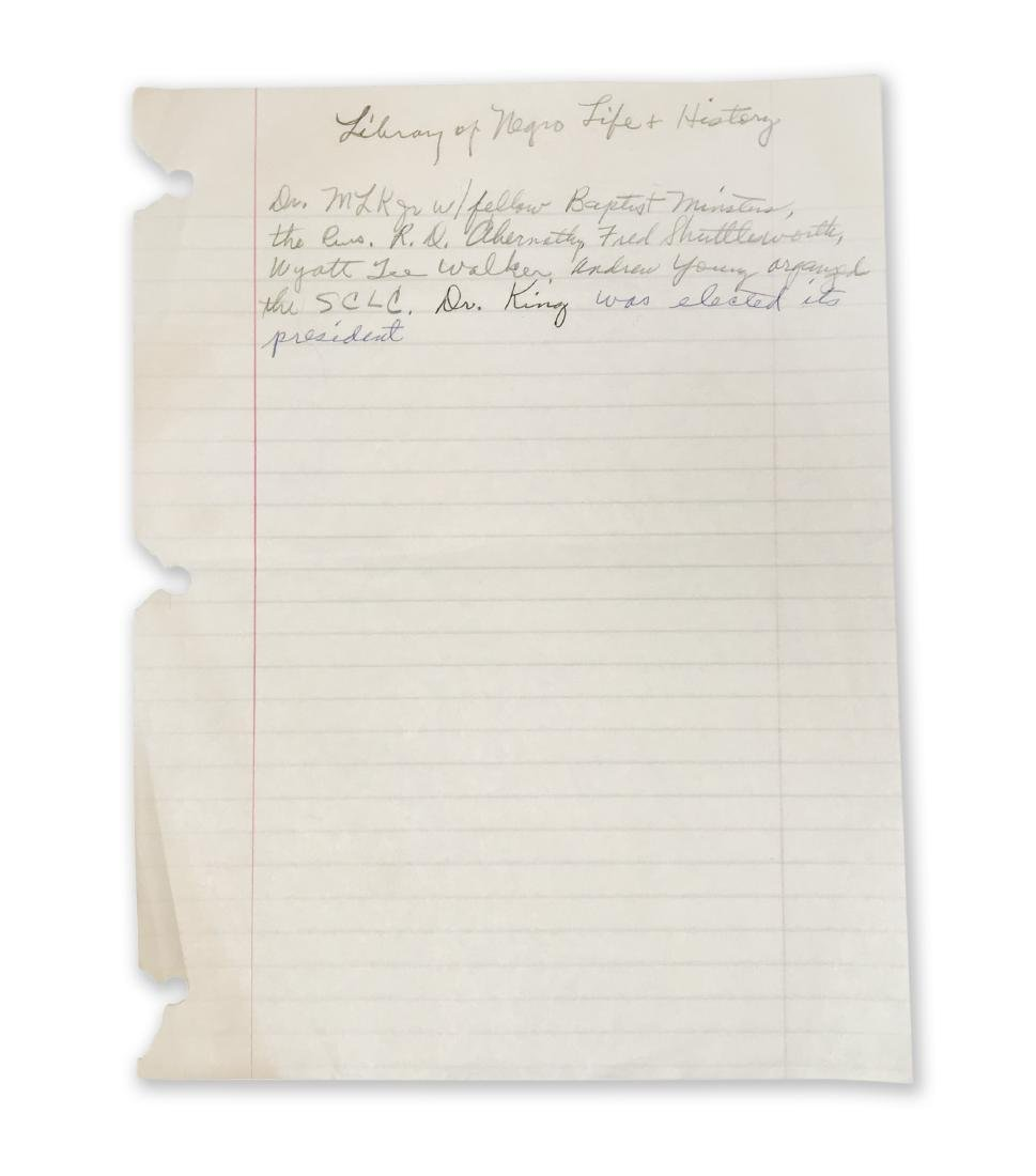 Rosa Parks' handwritten notes on Martin Luther King,