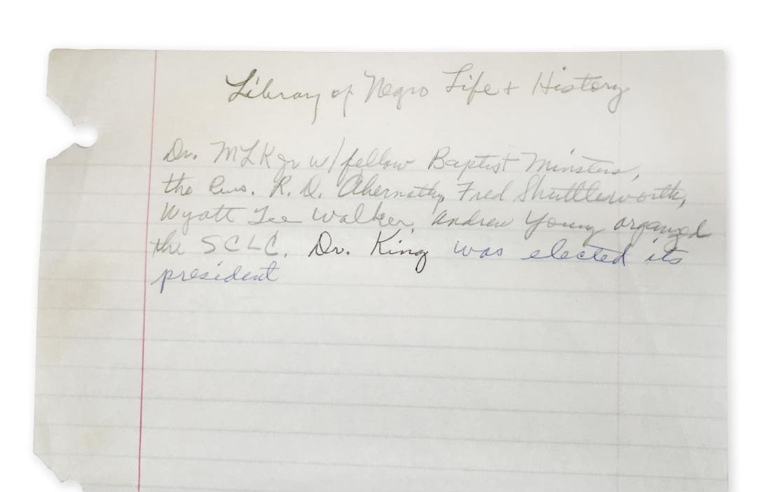 Rosa Parks' handwritten notes on Martin Luther King, - 2