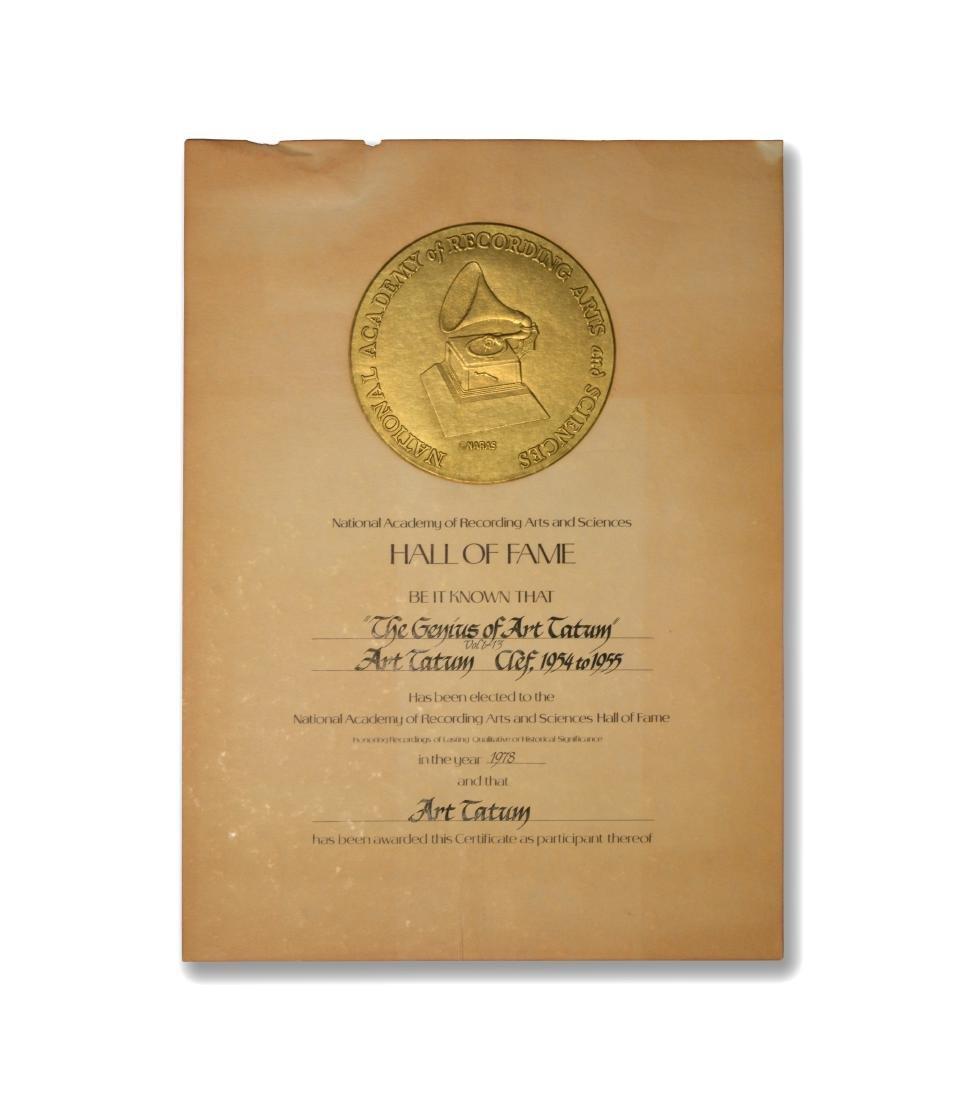 Art Tatum Hall of Fame Certificate, 1978