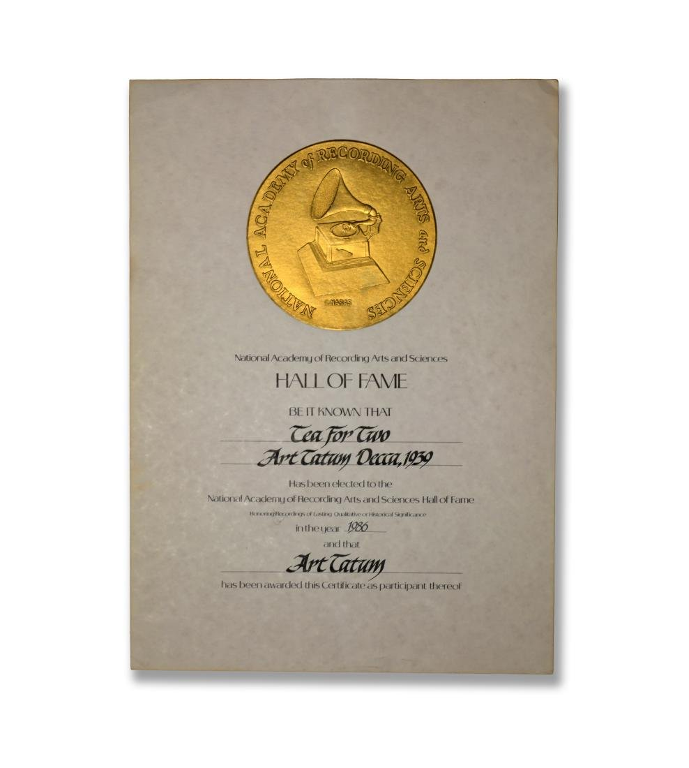 Art Tatum Hall of Fame Certificate, 1986