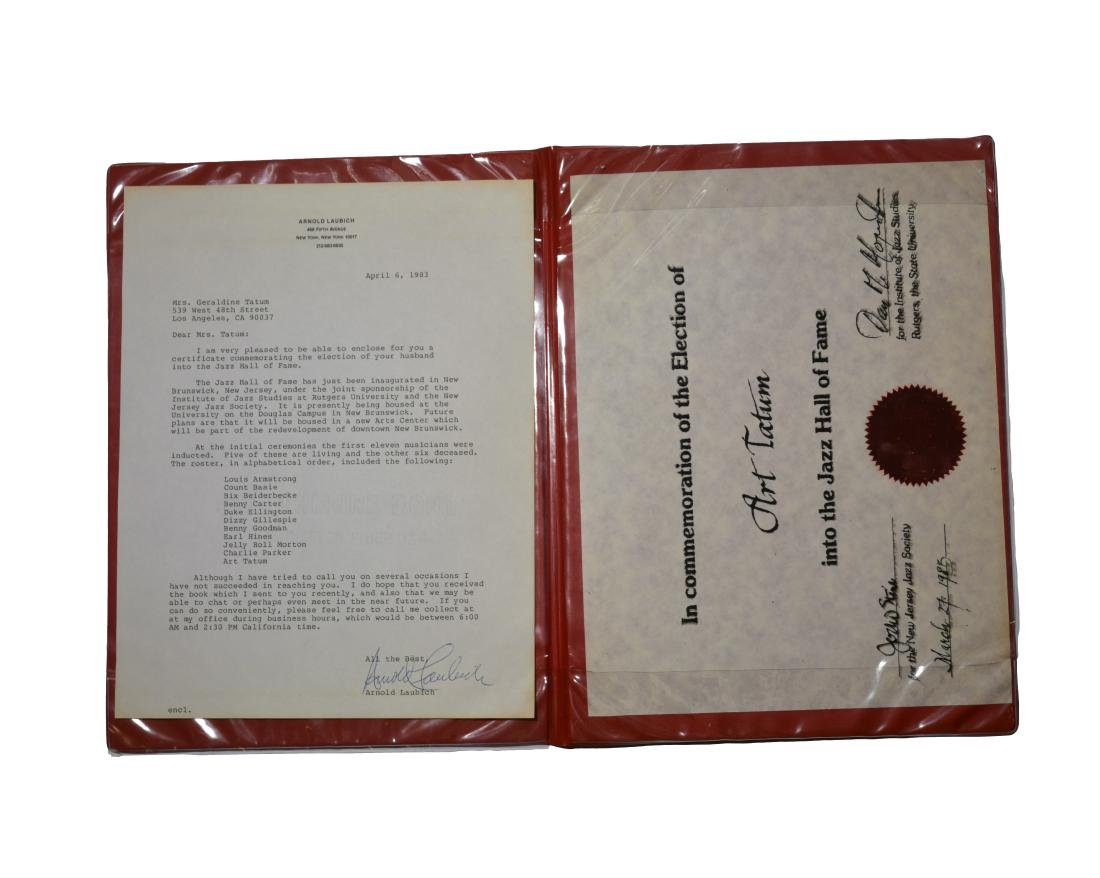 Certificate from Jazz Hall of Fame