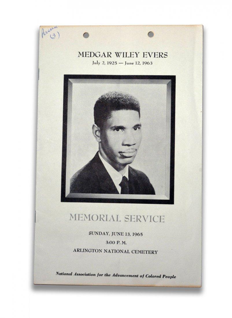 Memorial Service Program, Medgar Evers
