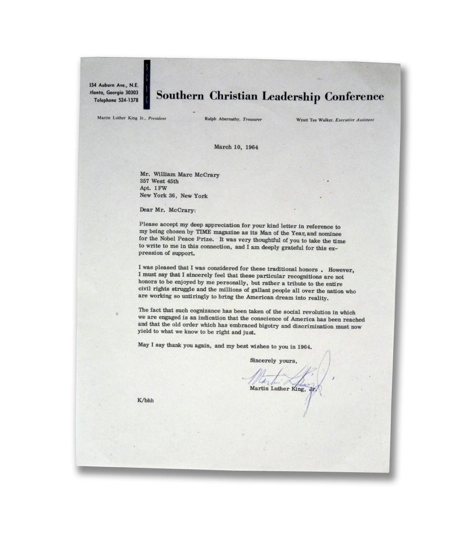Martin Luther King, Jr. signed letter, 1964