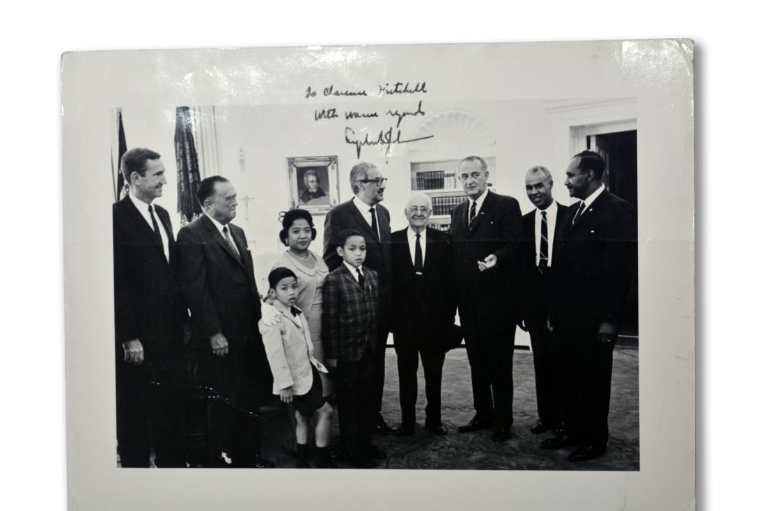 Lyndon Johnson inscribed White House photograph