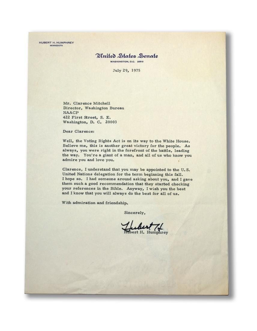 Hubert Humphrey signed letter