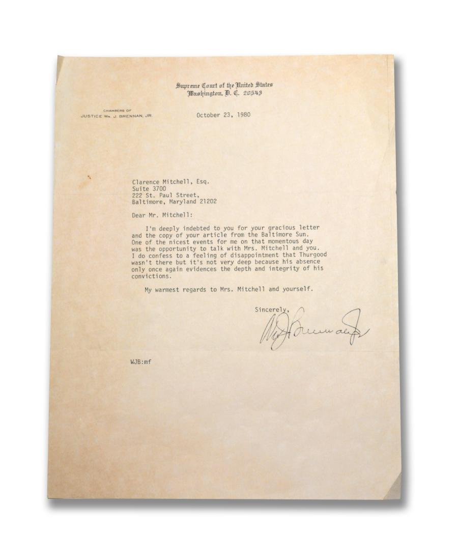 Chief Justice William Brennan Letter, signed