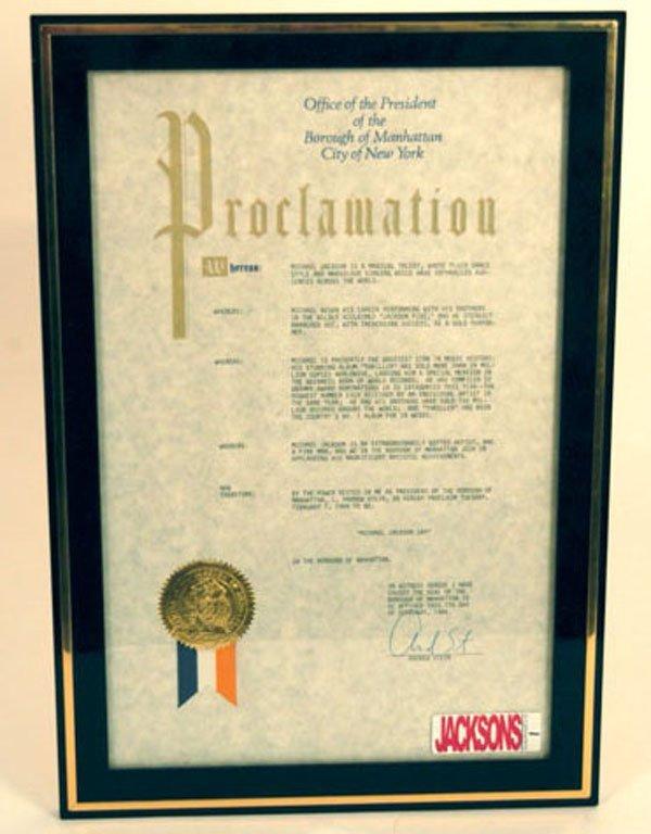 1: Michael Jackson Day Proclamation, 1984