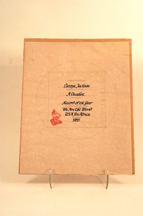 15: LaToya Jackson Grammy Certificate, 1985