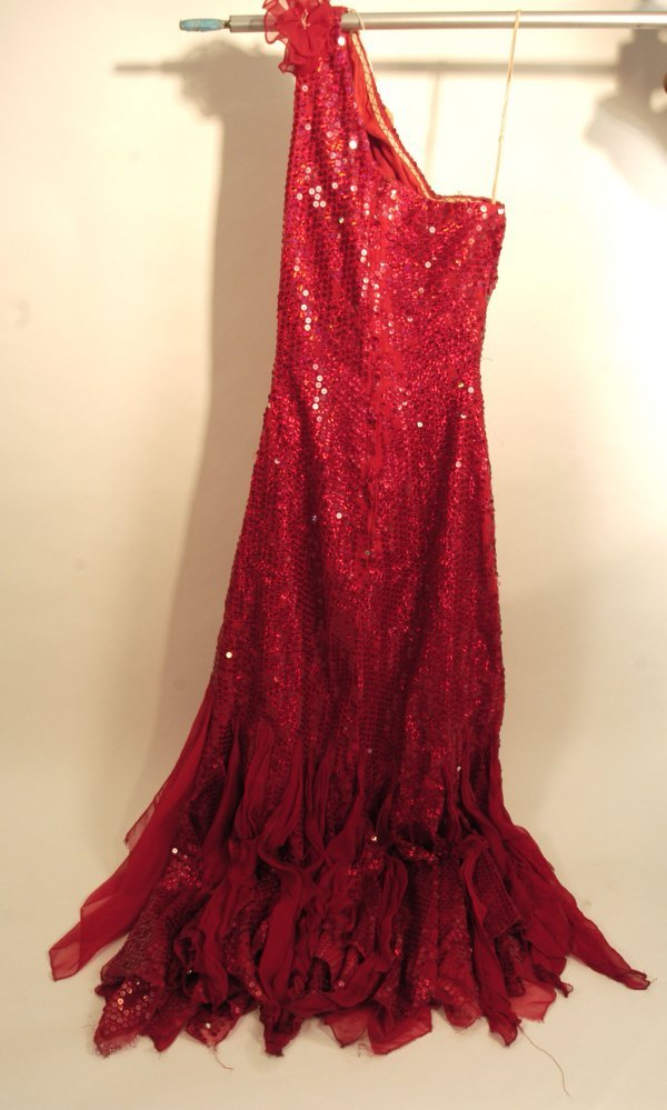 325: La Toya Jackson Red Sequined Gown
