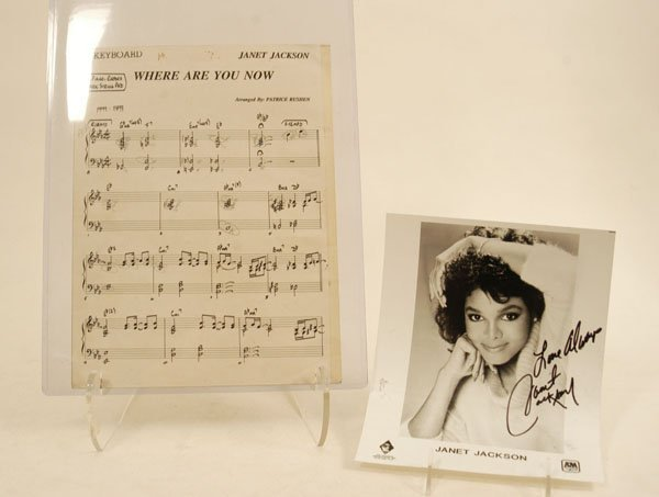572: Janet Jackson Sheet Music and Signed Photo