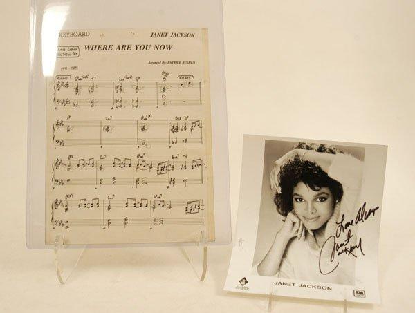 572: Janet Jackson Sheet Music and Signed Photo