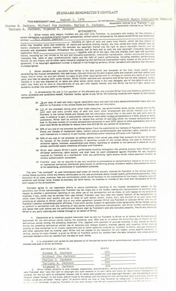 """761B:  The Jacksons Songwriter's Contract for """"All Nigh"""