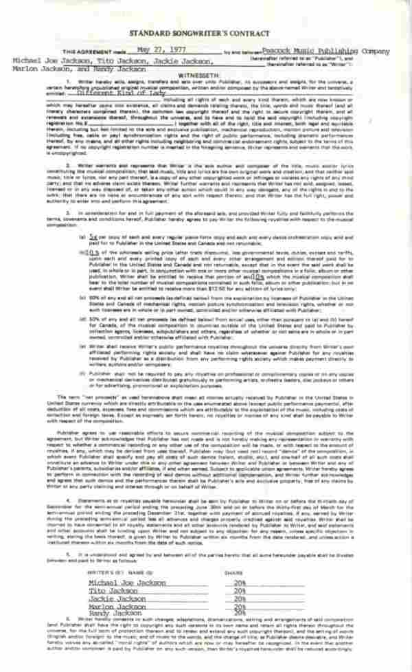"""761C:  The Jacksons Songwriter's Contract for """"Differen"""