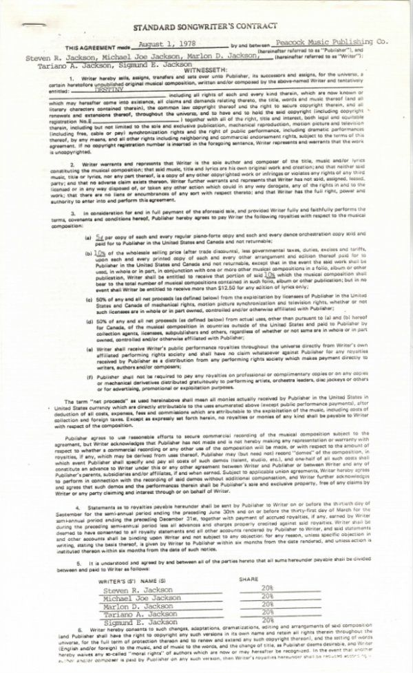 "761D:  The Jacksons Songwriter's Contract for ""Destiny,"