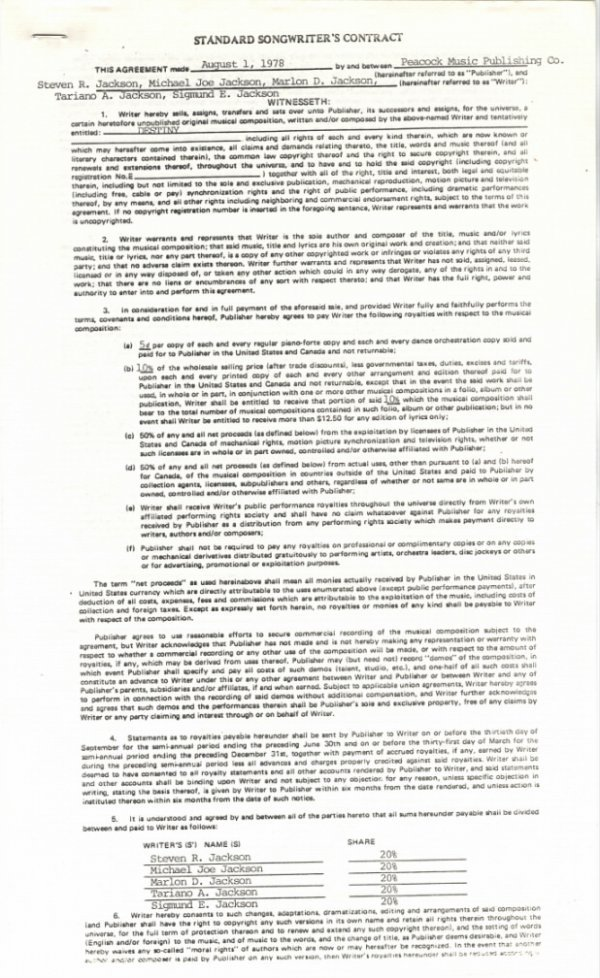 """761D:  The Jacksons Songwriter's Contract for """"Destiny,"""
