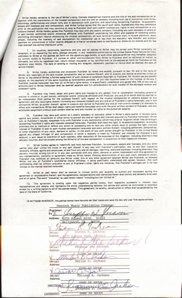 """761D:  The Jacksons Songwriter's Contract for """"Destiny, - 2"""