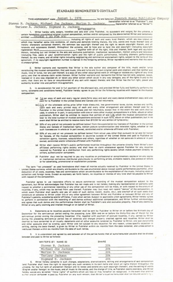 """761E:  The Jacksons Songwriter's Contract for """"Things I"""