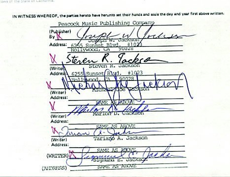 """761E:  The Jacksons Songwriter's Contract for """"Things I - 3"""