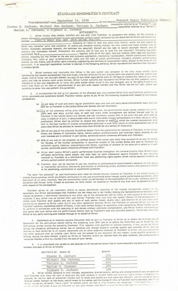"""761F:  The Jacksons Songwriter's Contract for """"That's W"""