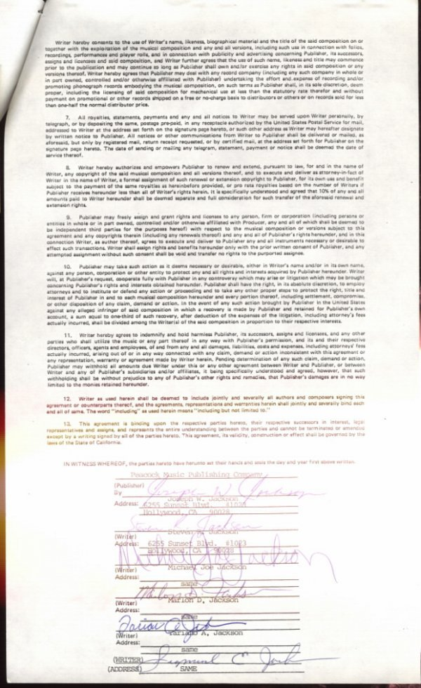 """761F:  The Jacksons Songwriter's Contract for """"That's W - 2"""