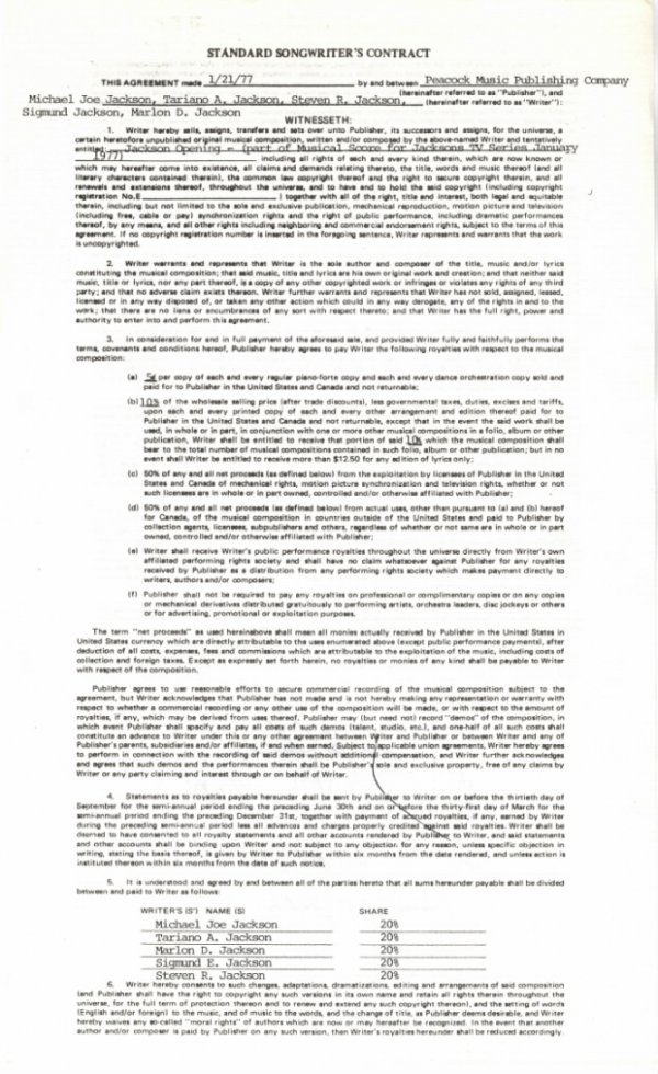 """762B:  The Jacksons Songwriter's Contract for the """"Jack"""