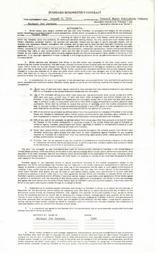 """762C:  Michael Jackson Songwriter's Contract for """"Blues"""