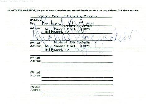 """762C:  Michael Jackson Songwriter's Contract for """"Blues - 4"""