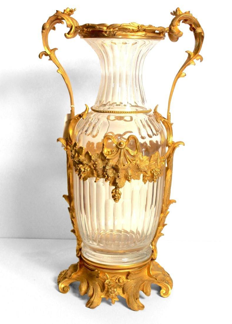 Pair of Monumental Ormolu Mounted Crystal Vases